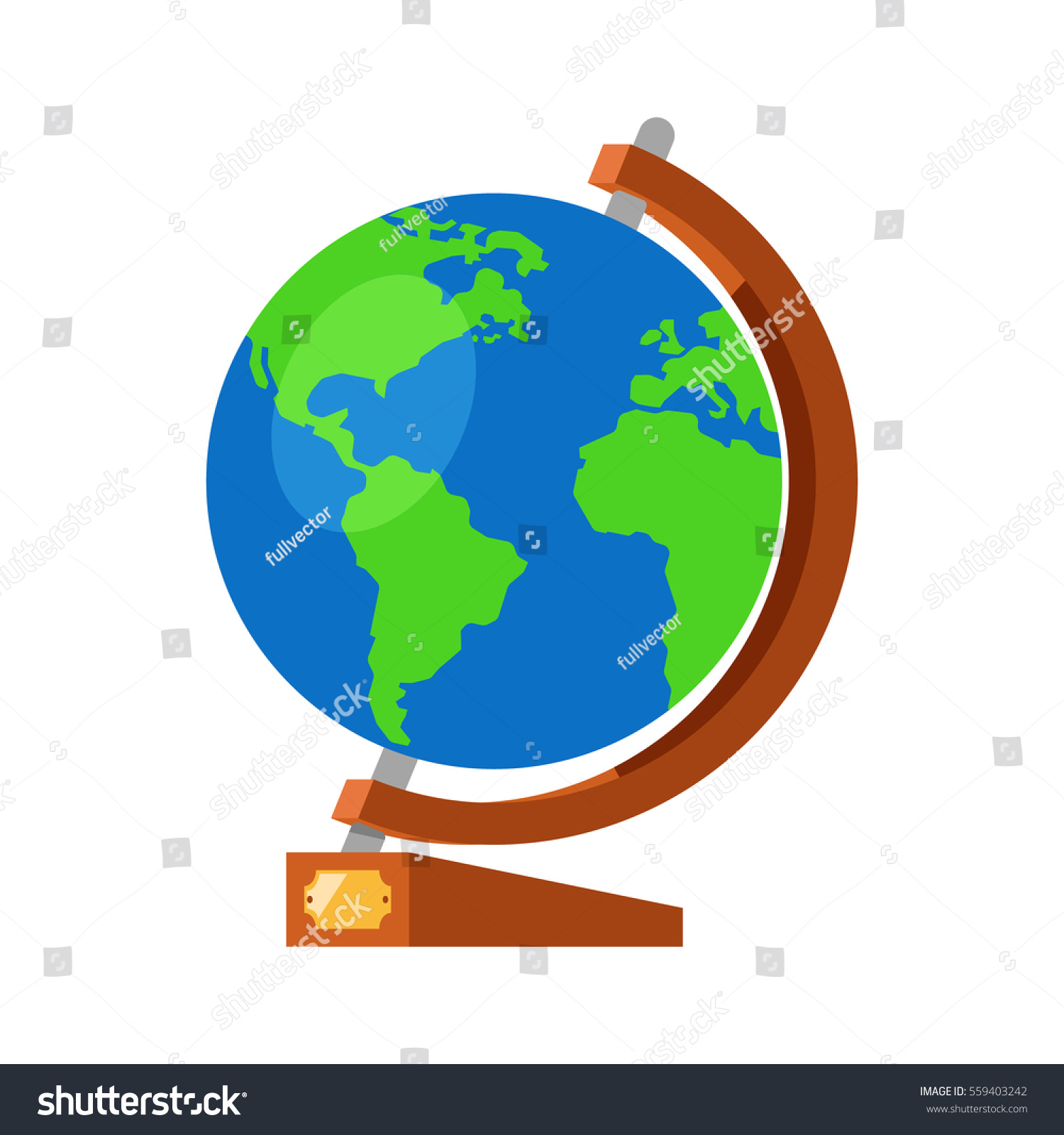 Cartoon globe world map on wooden vectores en stock 559403242 cartoon globe with world map on wooden stand and golden plate 3d flat vector illustration gumiabroncs Image collections