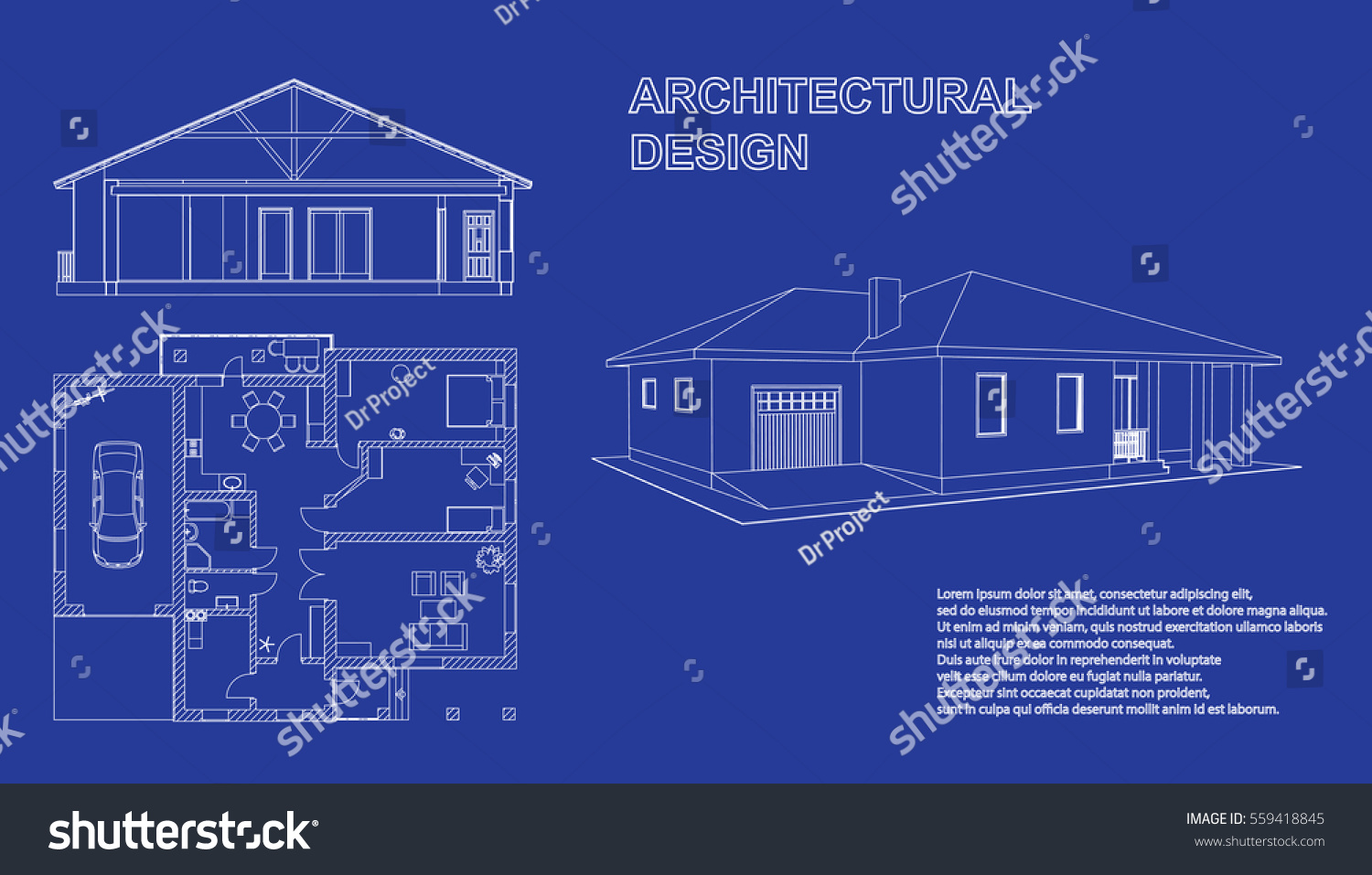 Perspective 3D Floor Plan And Cross Section Suburban House Drawing Of The Modern Building