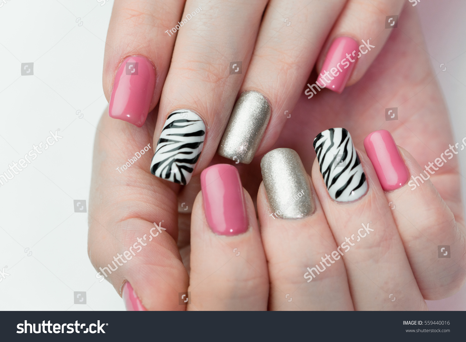 Womens Hands Cheerful Manicure Closeup On Stock Photo (Download Now ...