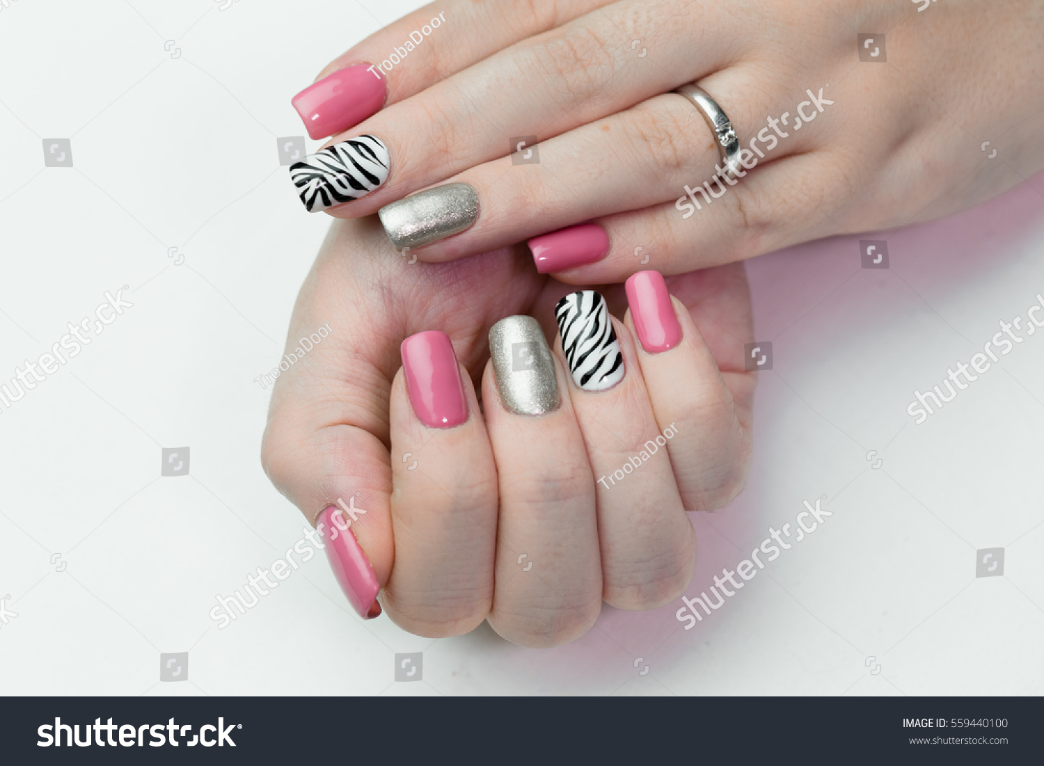 Womens Hands Cheerful Manicure Closeup On Stock Photo (Safe to Use ...