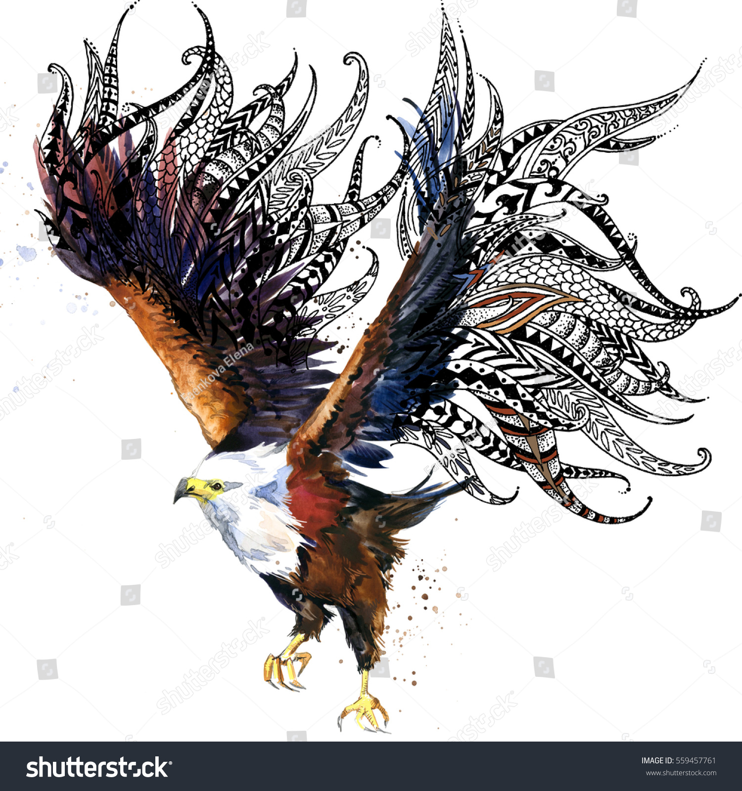 Eagle Bird Print Anti Stress Coloring Stock Illustration 559457761 ...