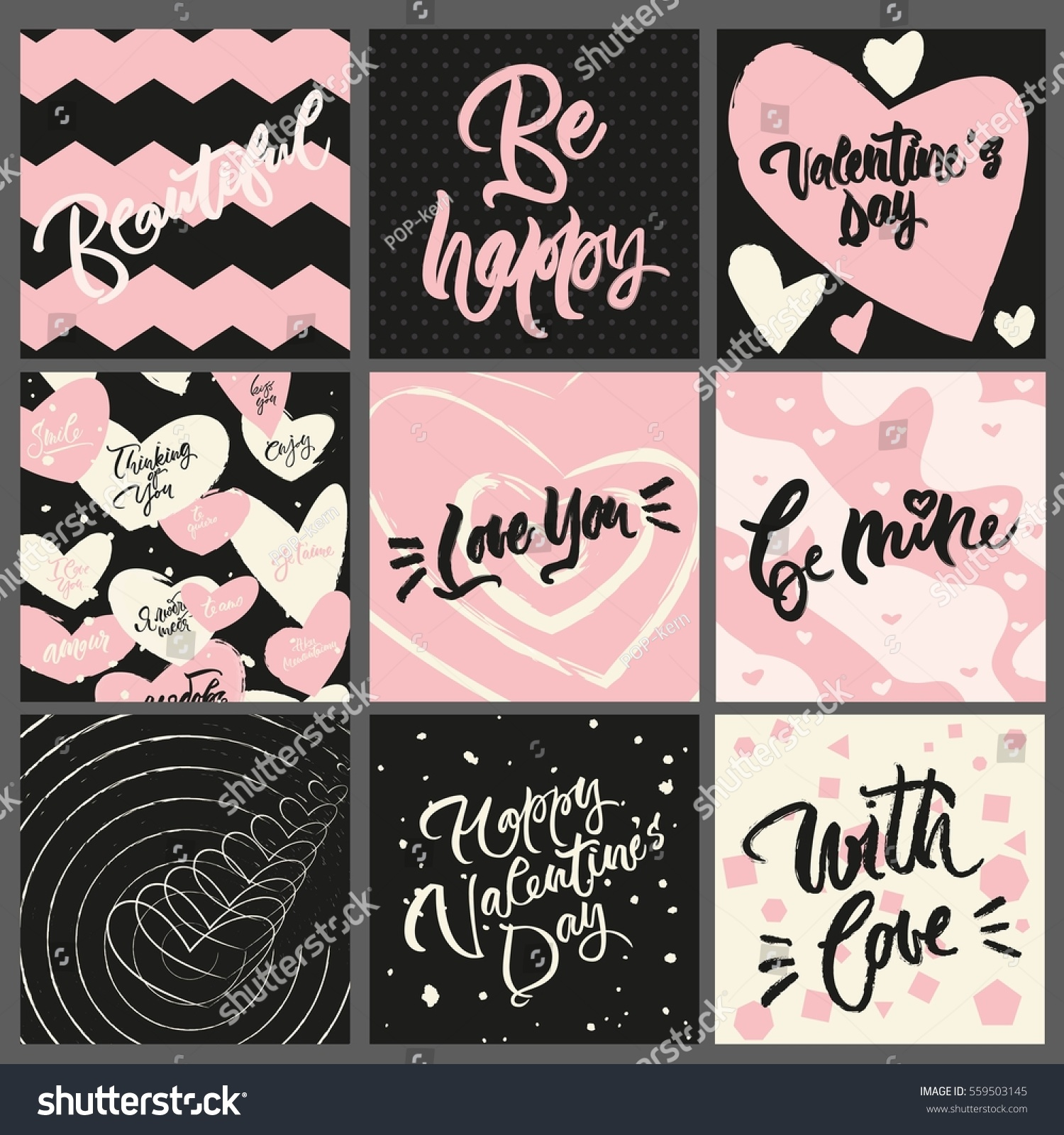 Set 9 Greeting Cards Textures Valentines Stock Vector Royalty Free