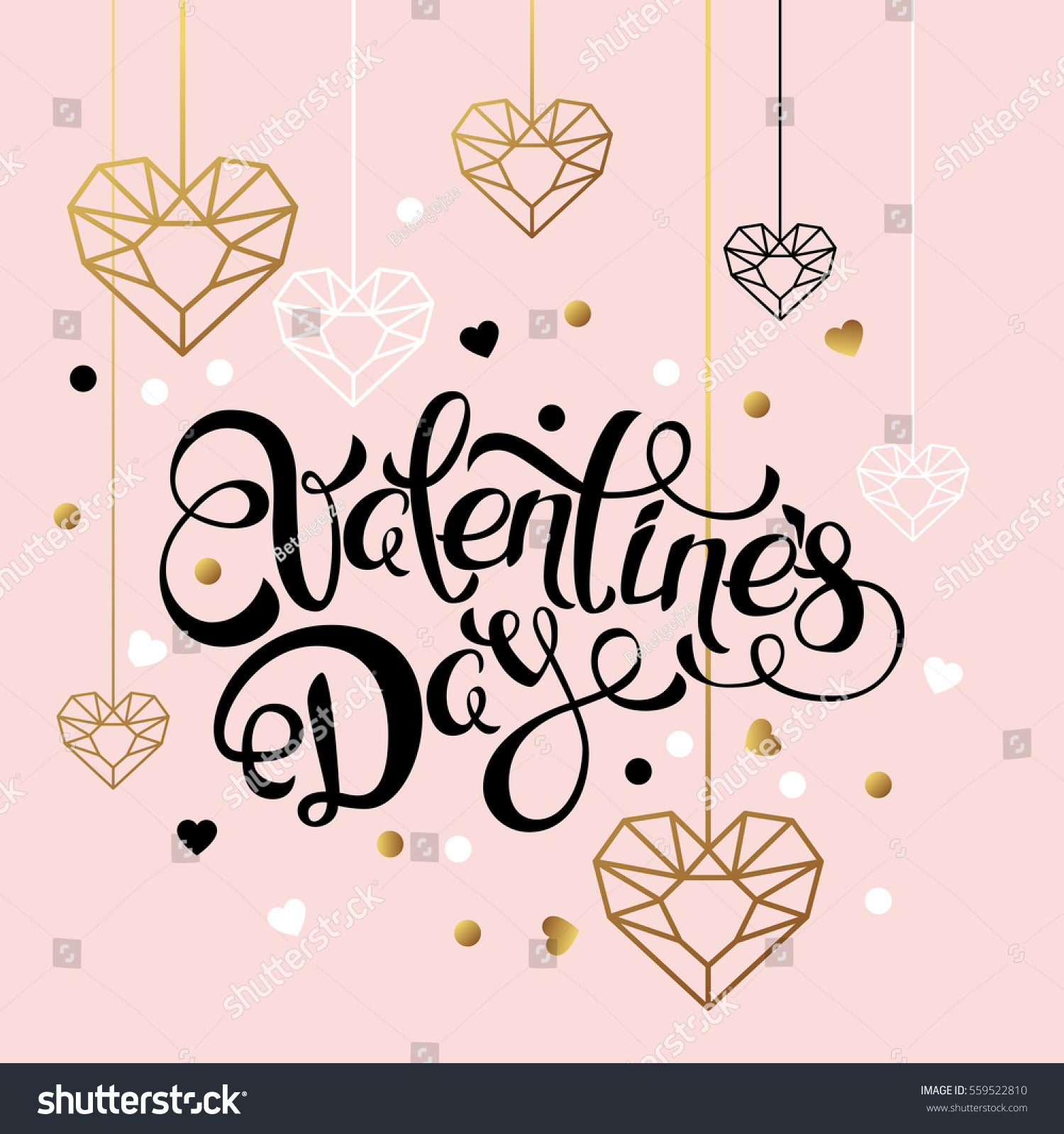 valentines day vector greeting card hand stock vector 559522810