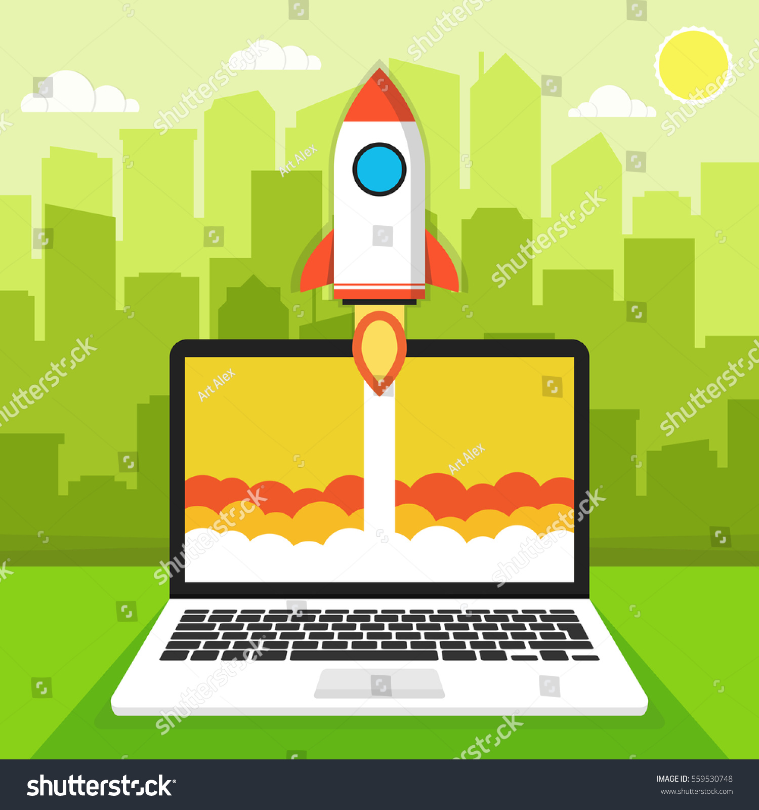 Successful Startup Business Concept Flat Vector Stock Vector