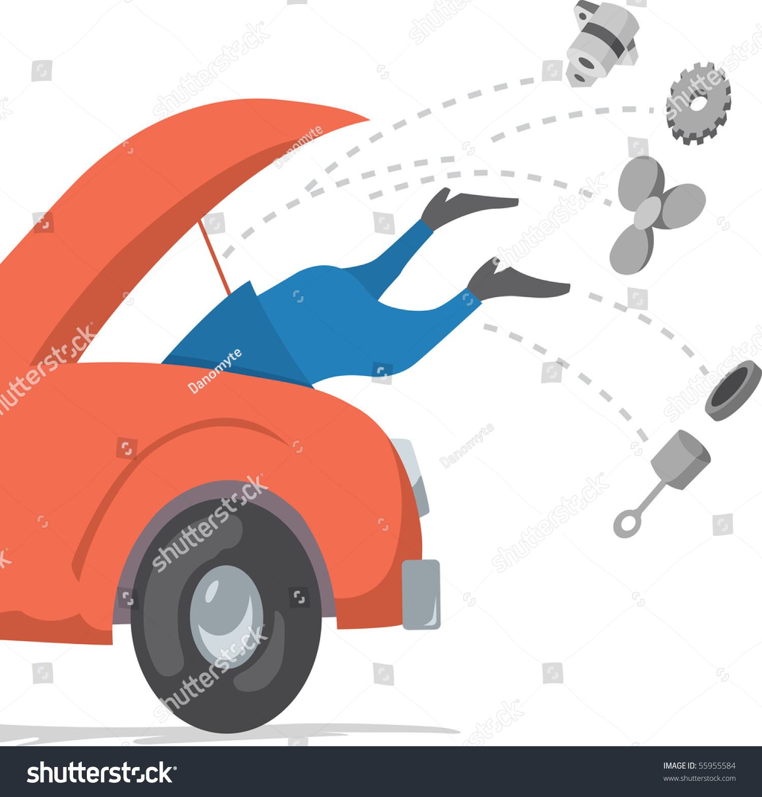 Man Under Hood, Attempting To Fix A Car. Stock Vector