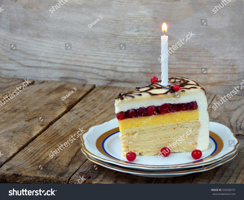 Piece Cake Napoleon Lighted Candles Birthday Stock Photo Edit Now