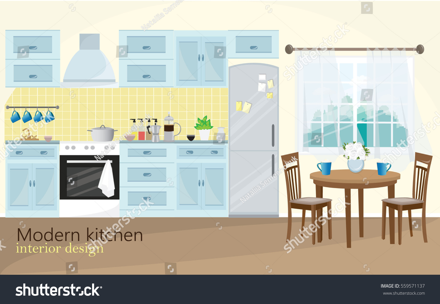 Cartoon kitchen with cabinets and window vector art illustration -  Vectors Illustrations Footage Music Illustration Of Modern Kitchen Interior Design In Blue Color With Kitchen Equipment Window Table