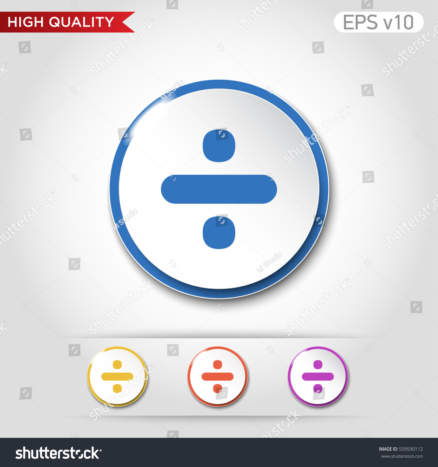 Colored Icon Button Divided Symbol Background Stock Vector Royalty