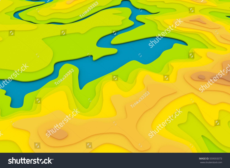 Topographic Map 3 D Cartoon Relief Illustration Stock Illustration