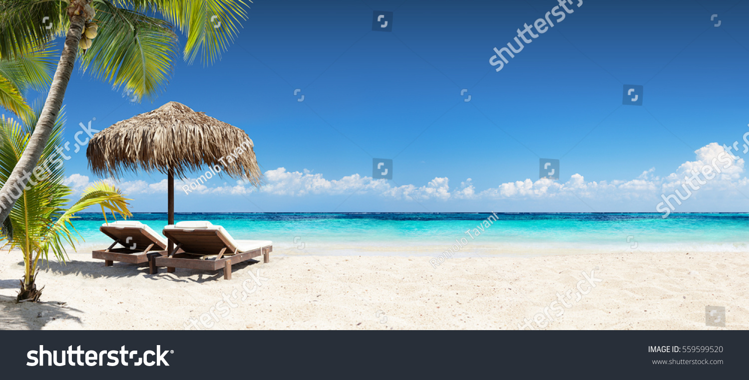 Chairs And Umbrella In Palm Beach - Tropical Holiday Banner
