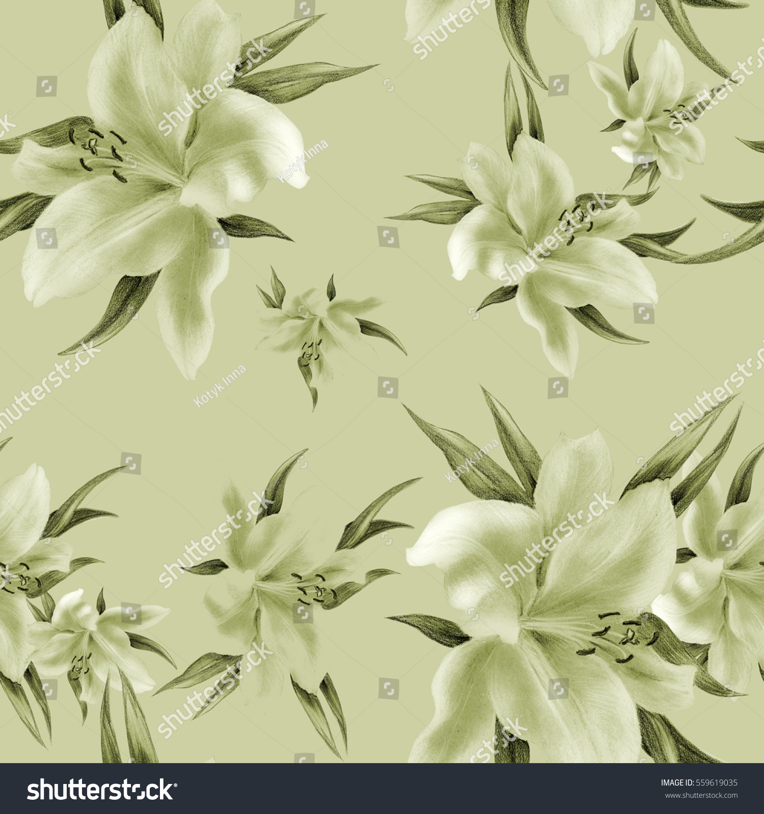 Lily flowers wallpaper drawing pastel seamless stock illustration lily flowers wallpaper drawing pastel seamless pattern wallpaper use printed materials izmirmasajfo