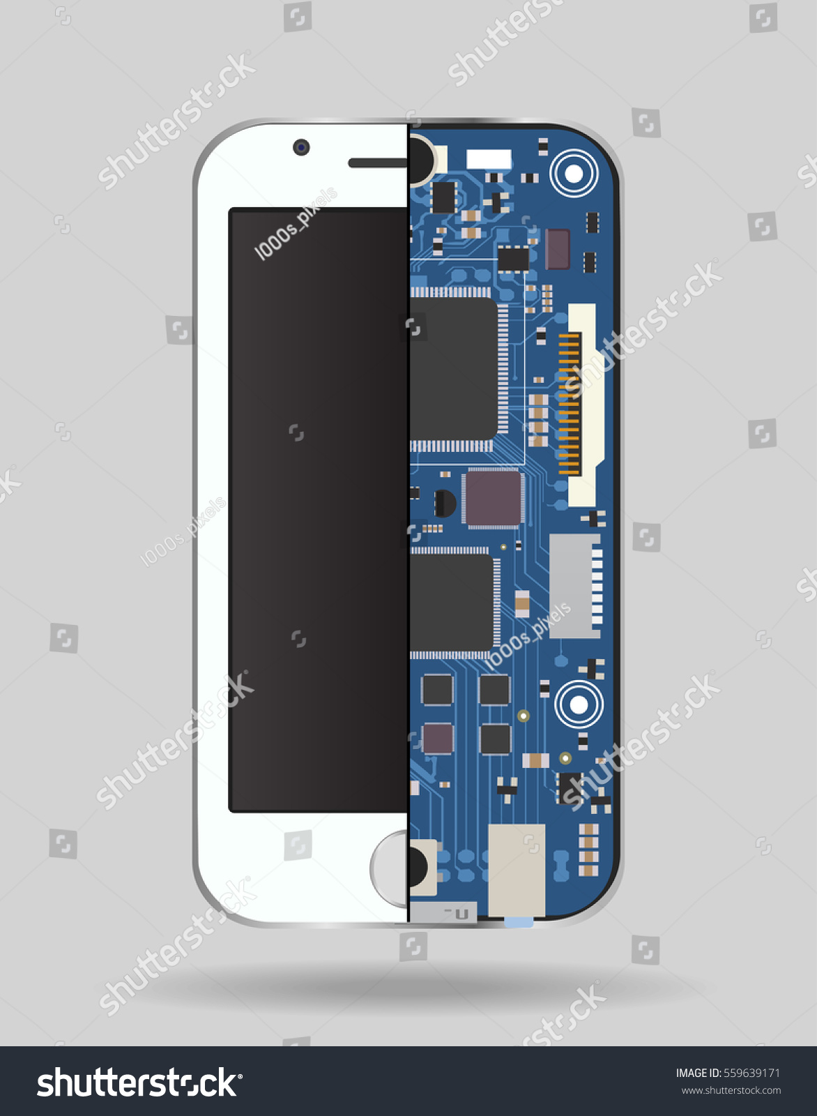 Internal Phone Device Circuit Board Microprocessor Stock Vector Circuitry Of An Electronic Calculator Royalty Free Photography A Variety Chips And Other