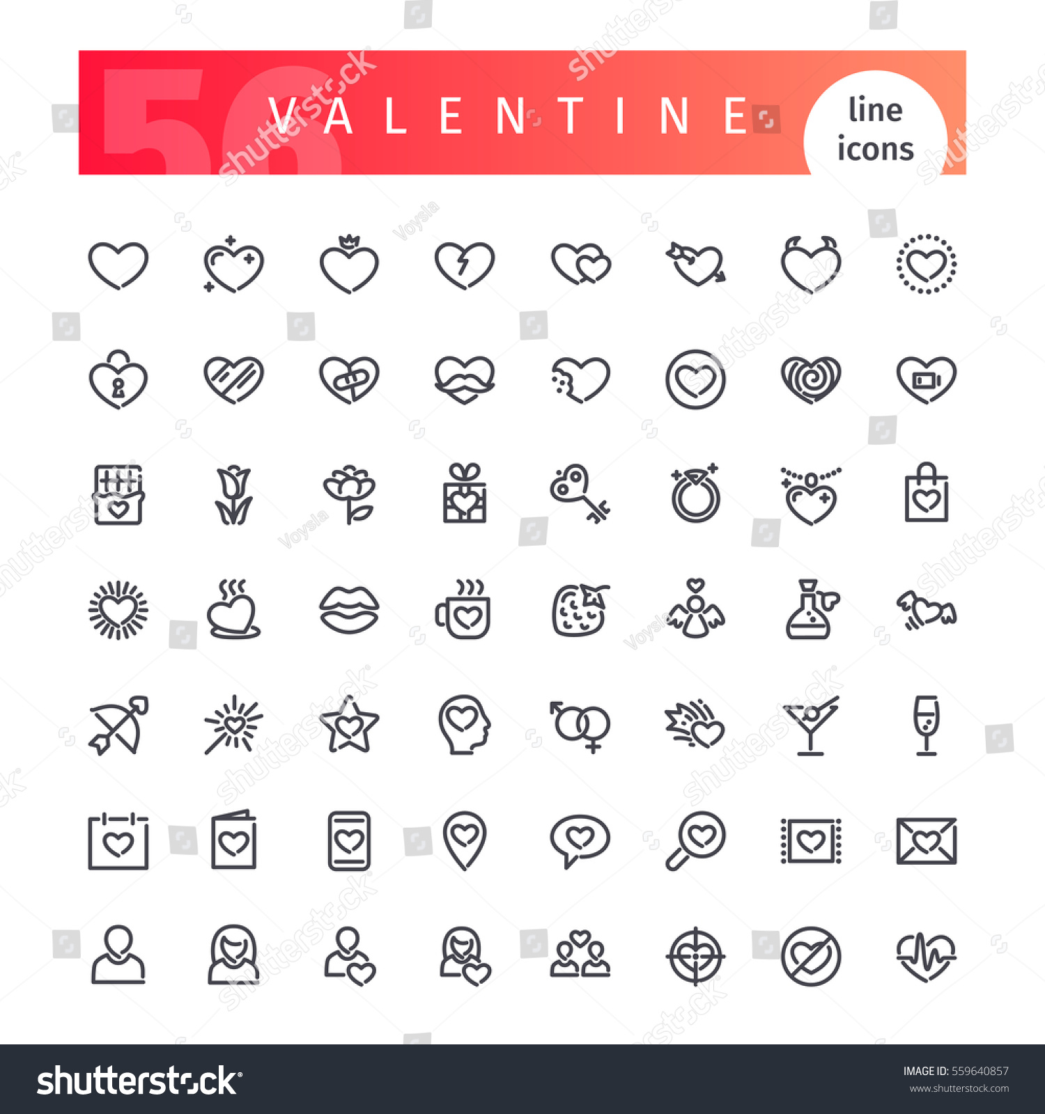 Set Of 56 Valentines Days Line Icons Suitable For Your Romance Projects.  Isolated On White