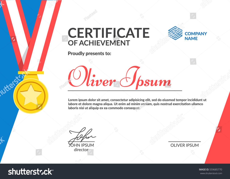Certificate Achievement Template Cool Flat Design Stock-Vektorgrafik ...