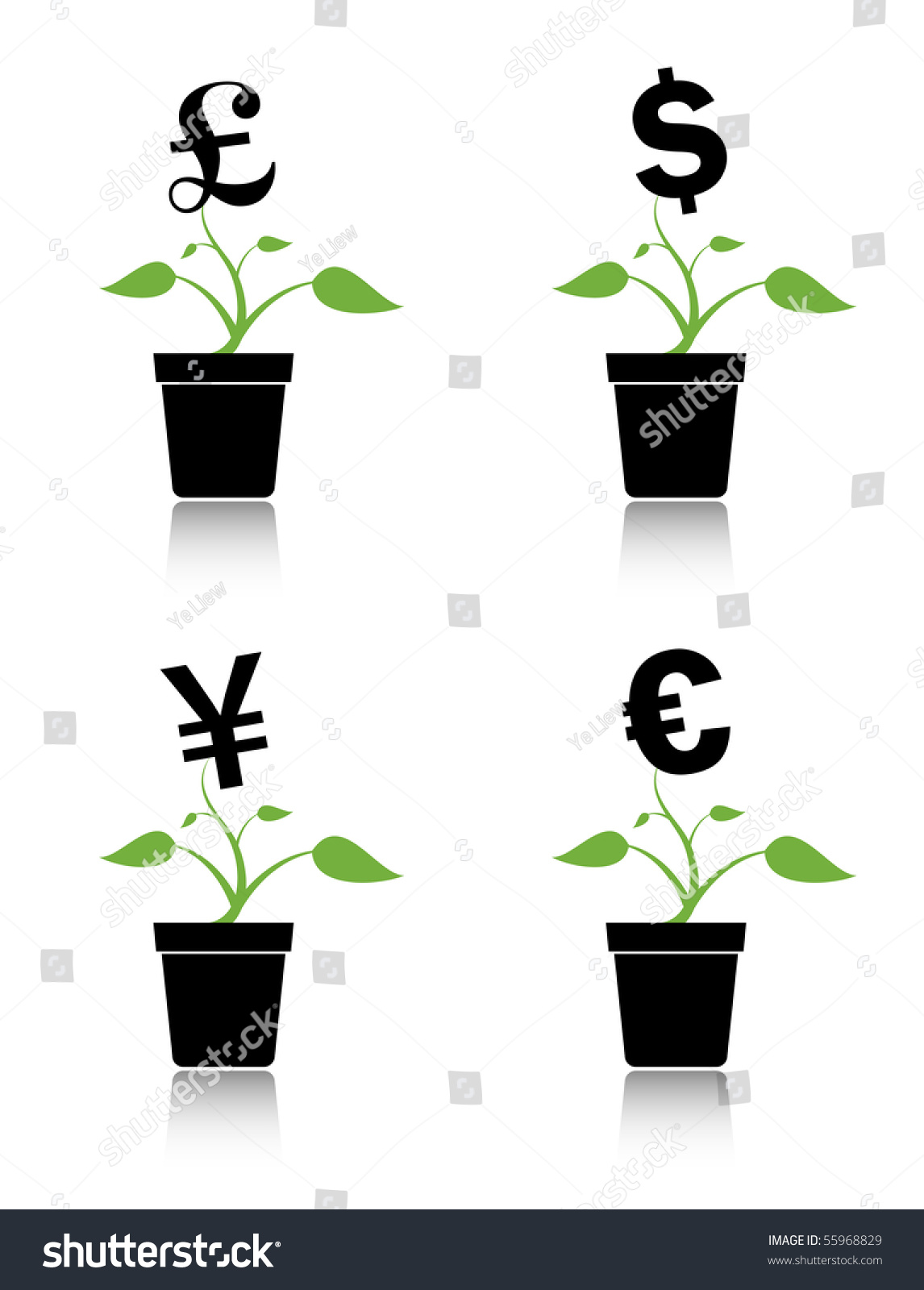 Money Tree Investment Growth Concept Various Stock Vector Royalty