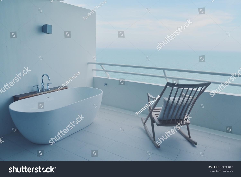 Bathtub Rocking Chair On White Terrace Stock Photo (Edit Now ...