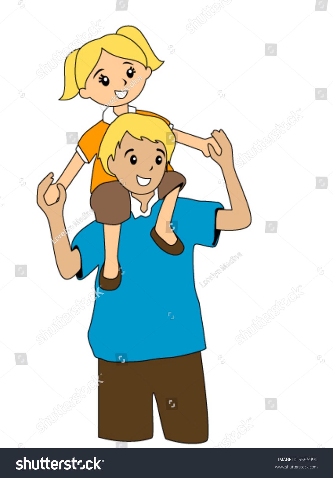 kids hugging clipart