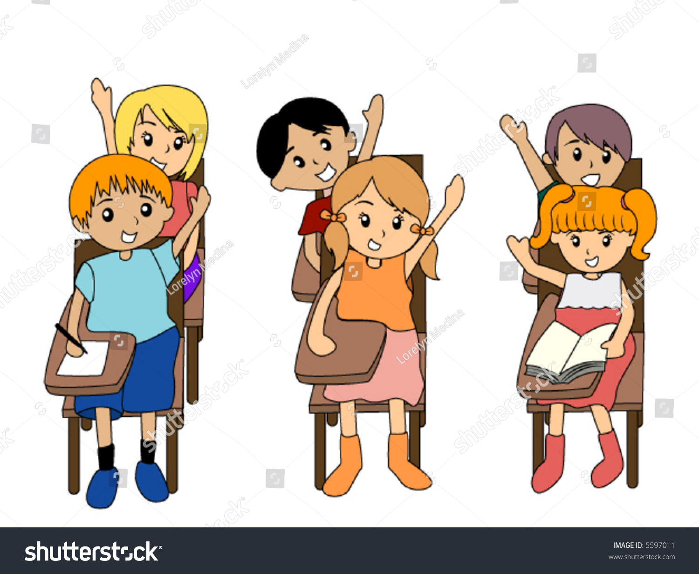 preschoolers raising their hands class vector stock vector