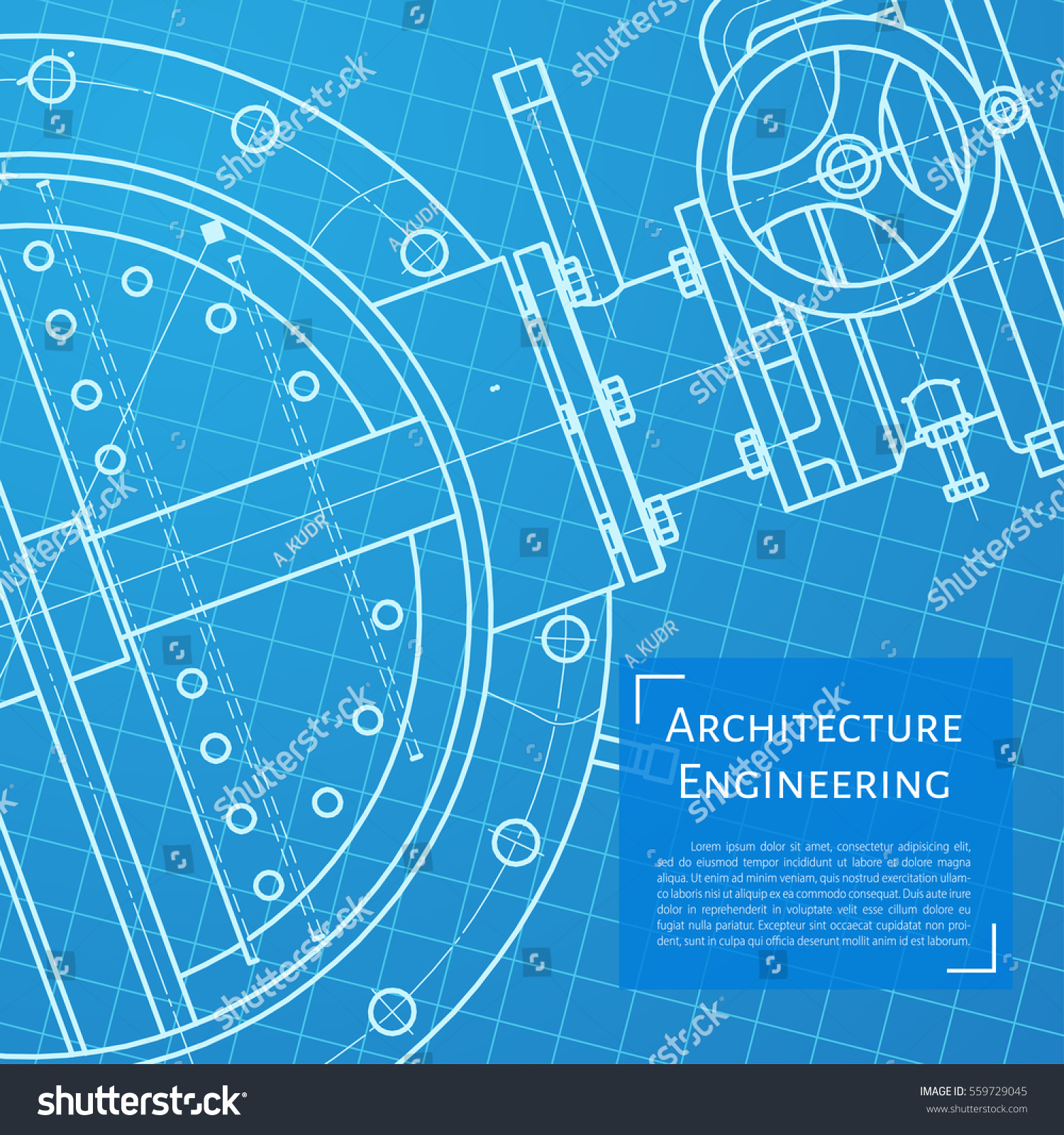 Vector Technical Blueprint Of Mechanism Engineer Illustration