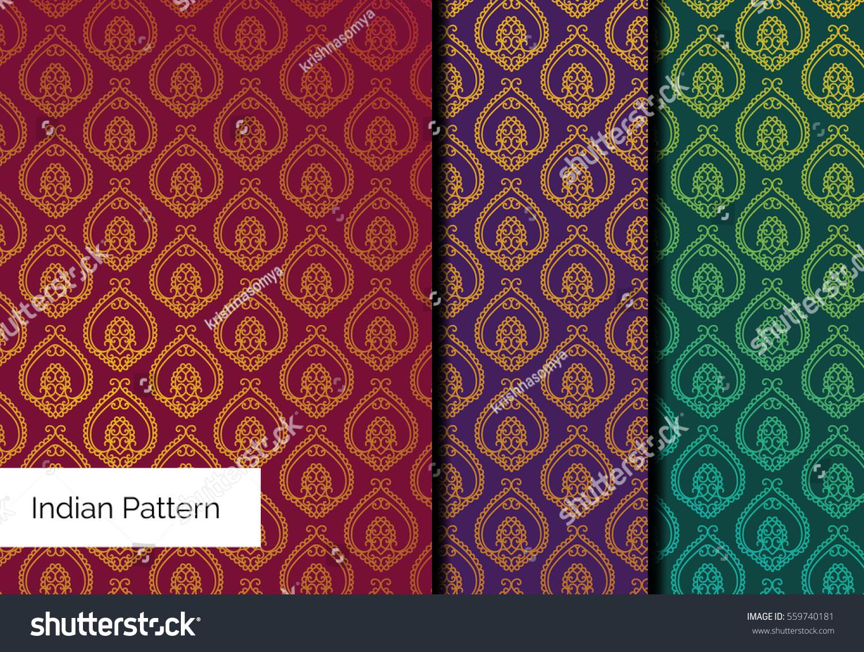 Indian Brocade Pattern Vector Pattern Set Stock Vector 559740181 ...