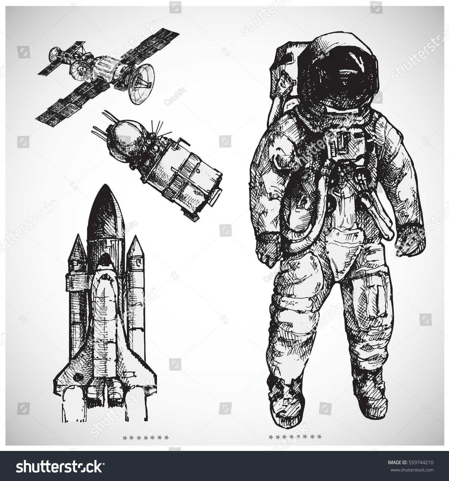 Astronaut Hand Drawn V...