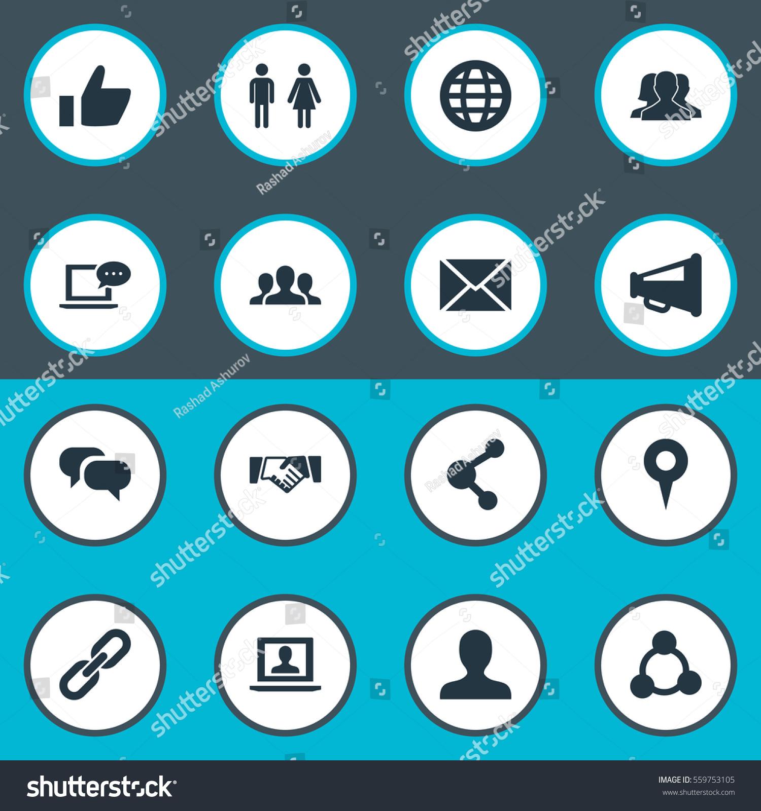 Set 16 Simple Social Media Icons Stock Illustration Royalty Free