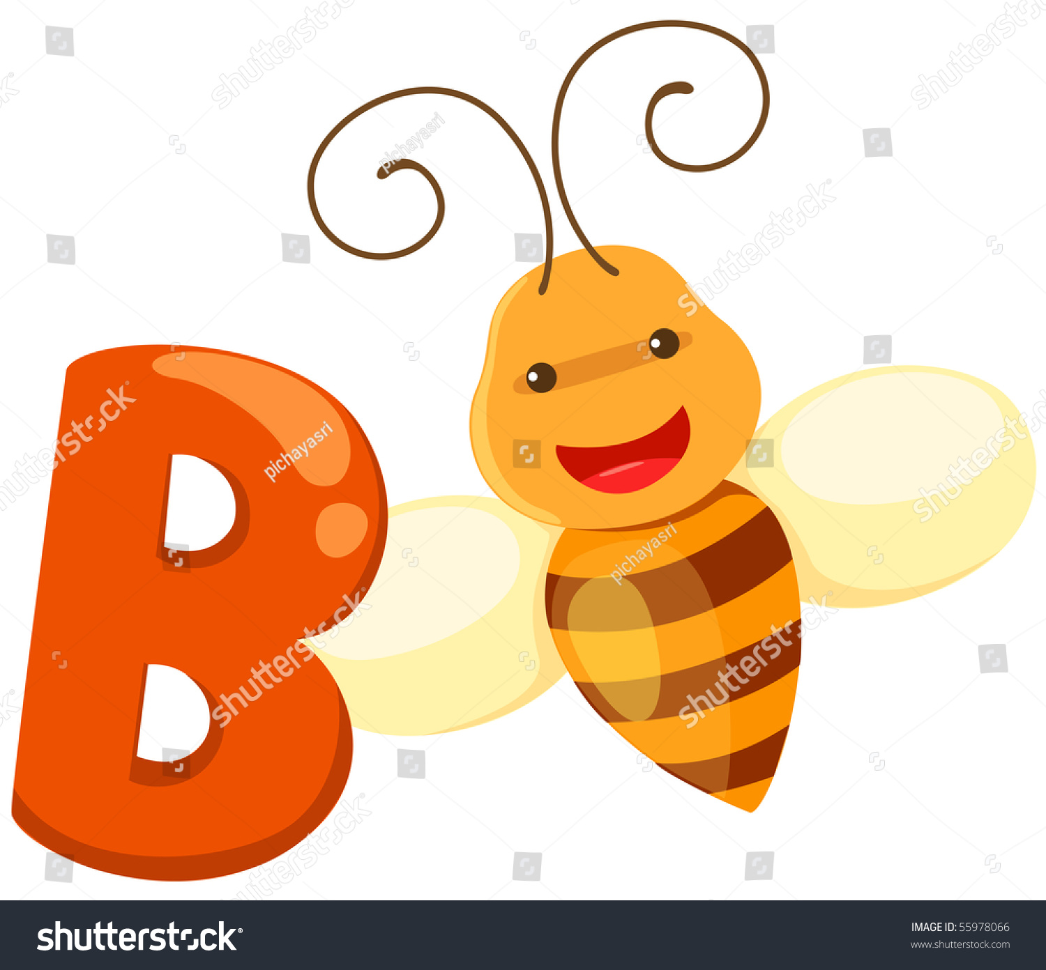 illustration of isolated animal alphabet b for bee on white
