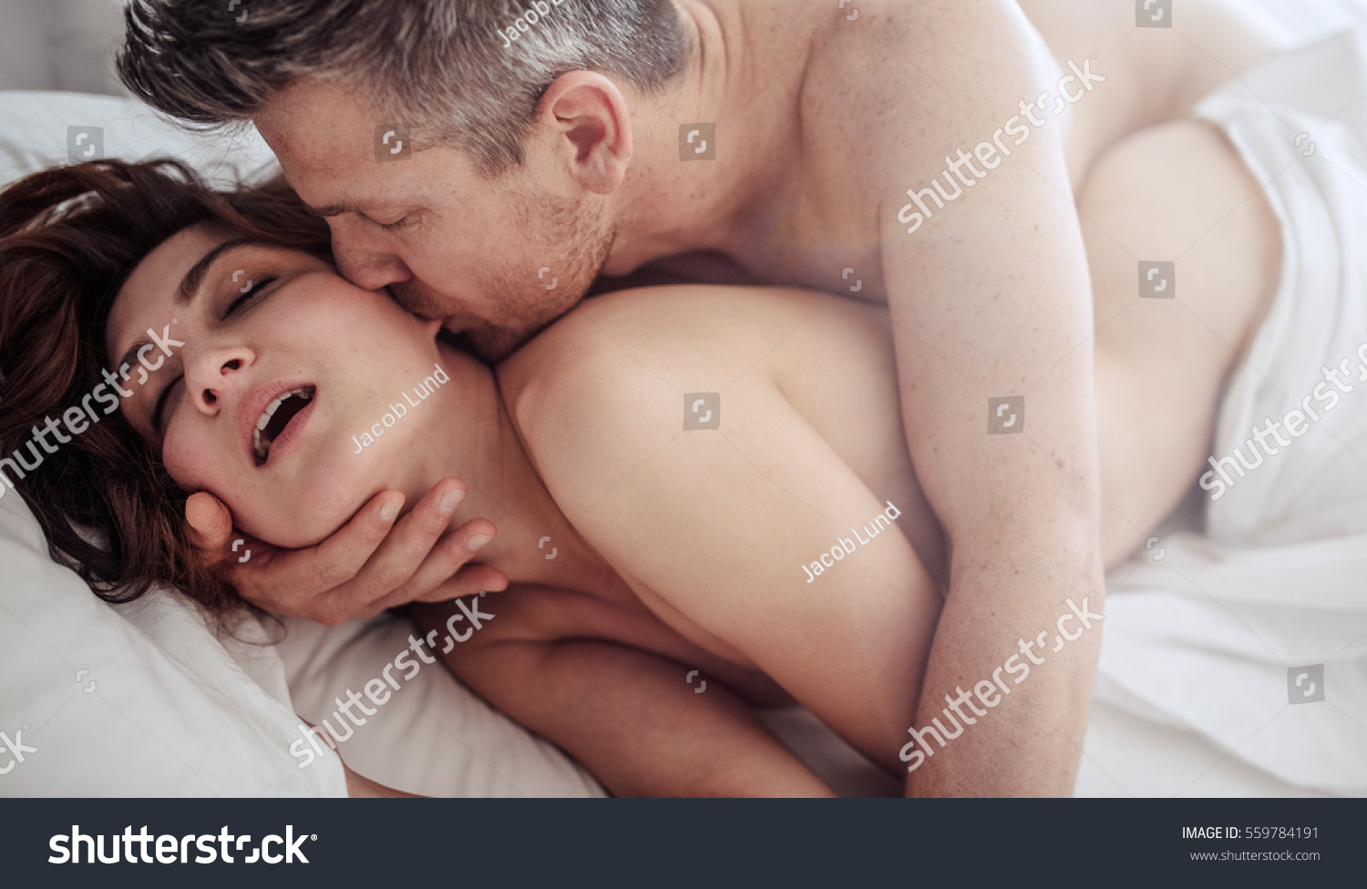 Intimate Lovers Caressing Making Love Bed Stock Photo -8220