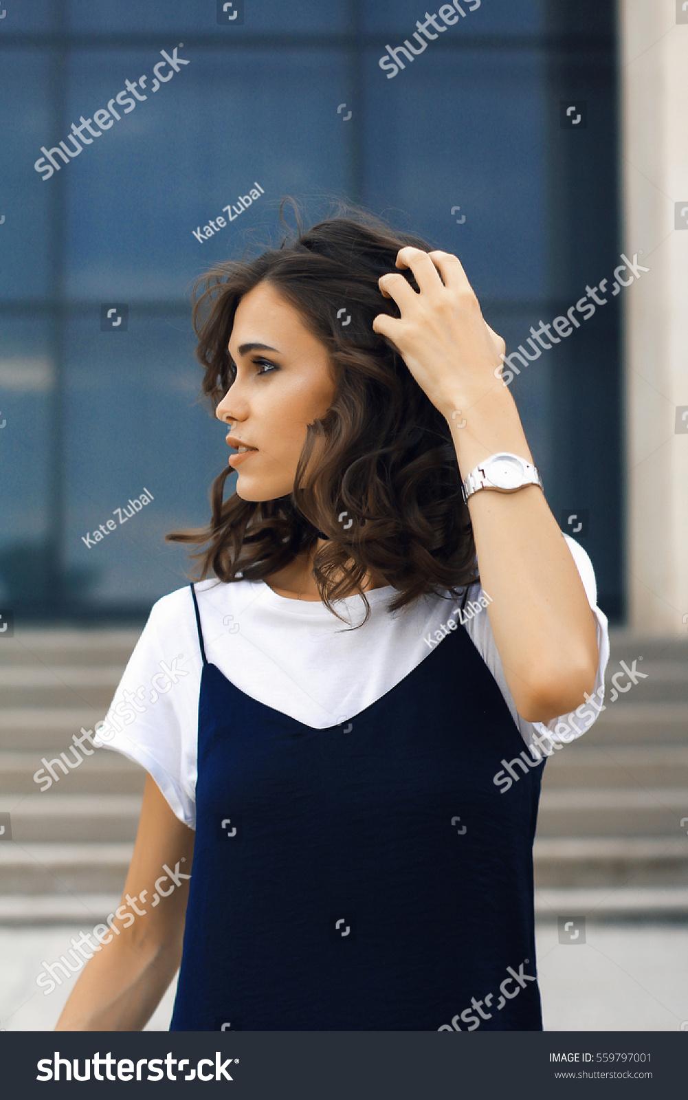 Woman Short Dark Curly Hair Hand Stock Photo Edit Now 559797001