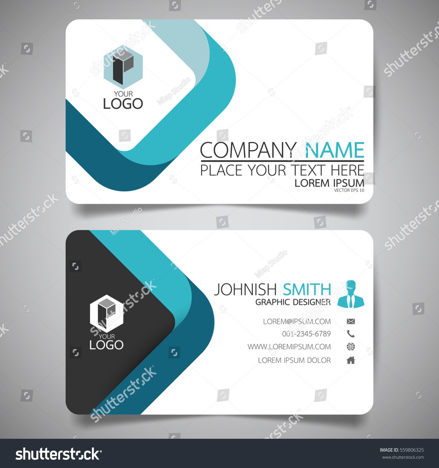 blue square modern creative business card stock vector