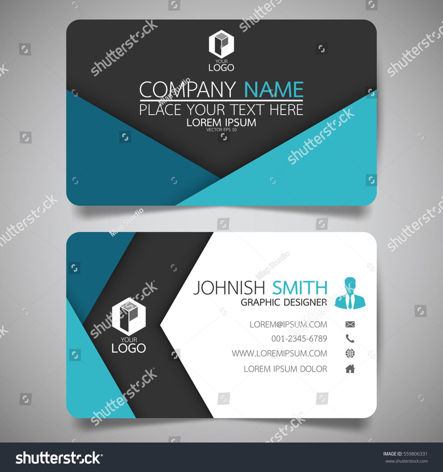 Blue Fold Modern Creative Business Card Stock Vector HD (Royalty ...