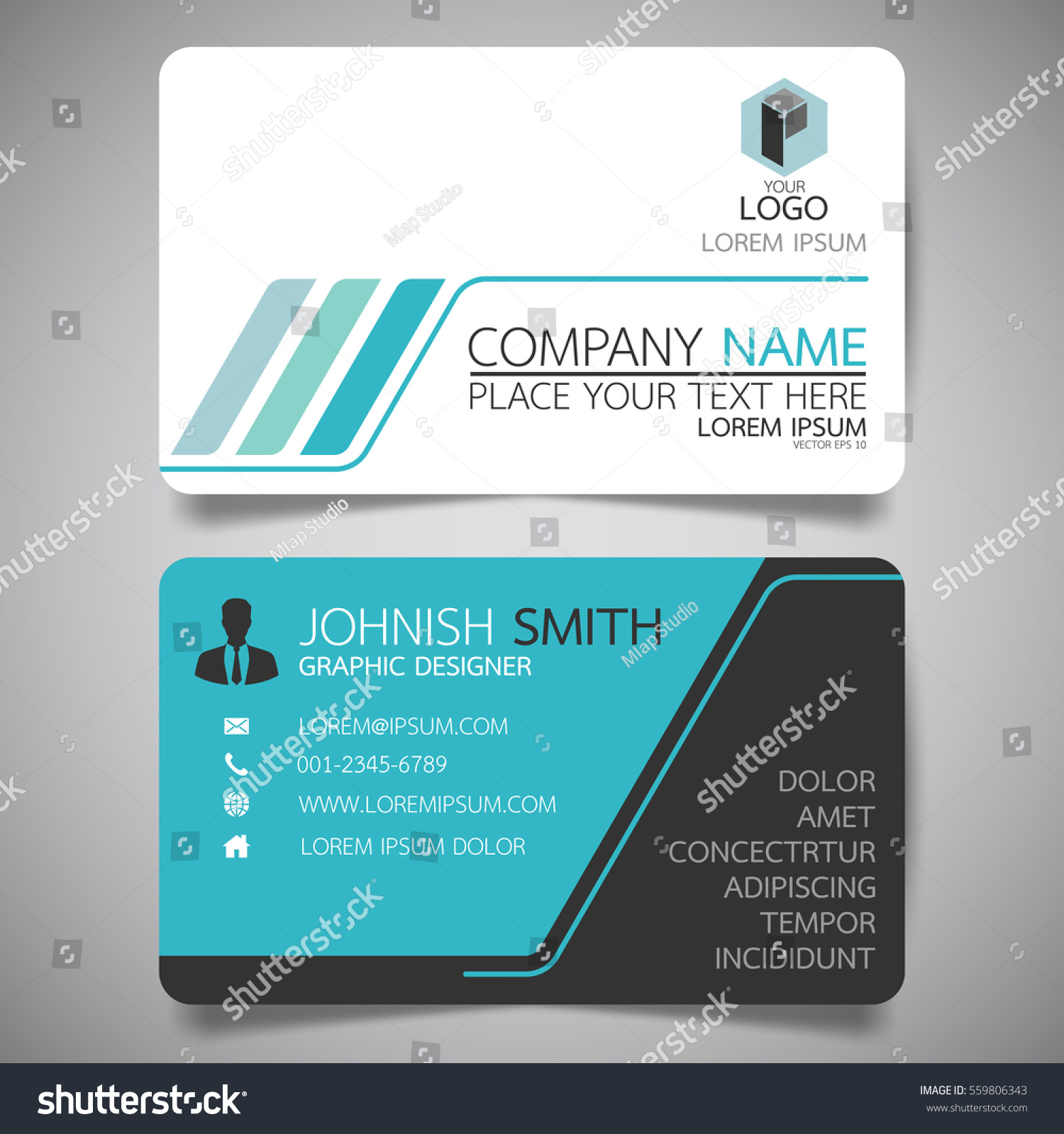 Blue Technology Modern Creative Business Card Stock Vector
