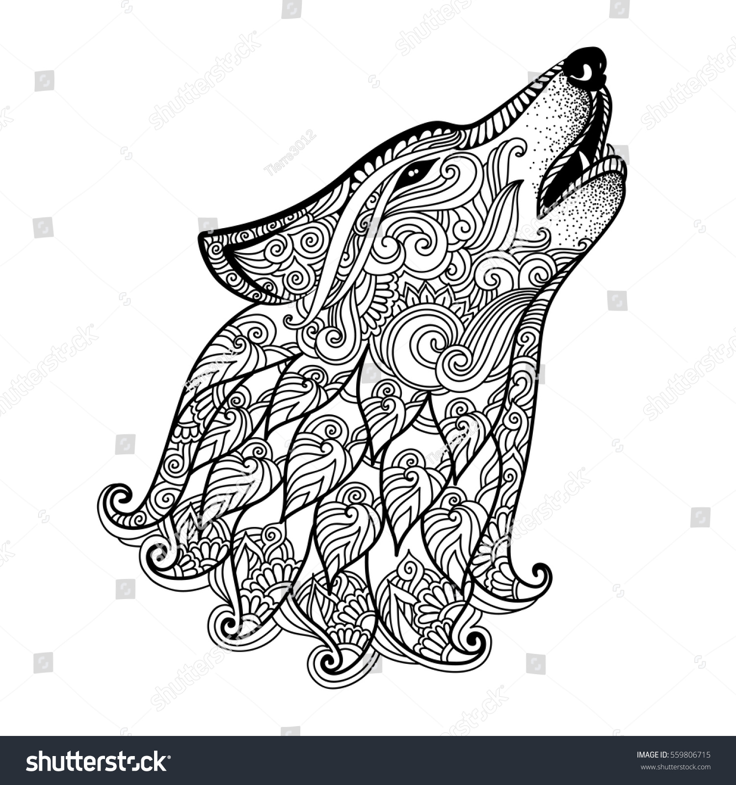 Hand Drawn Wolf Side View Ethnic Stock Vector 559806715 ...