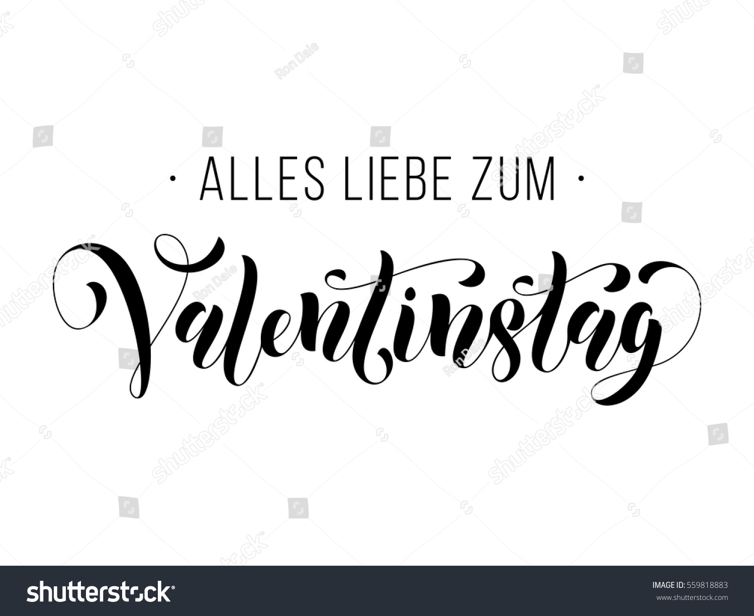 Valentines Day German Calligraphy Text Lettering Stock Vector ...