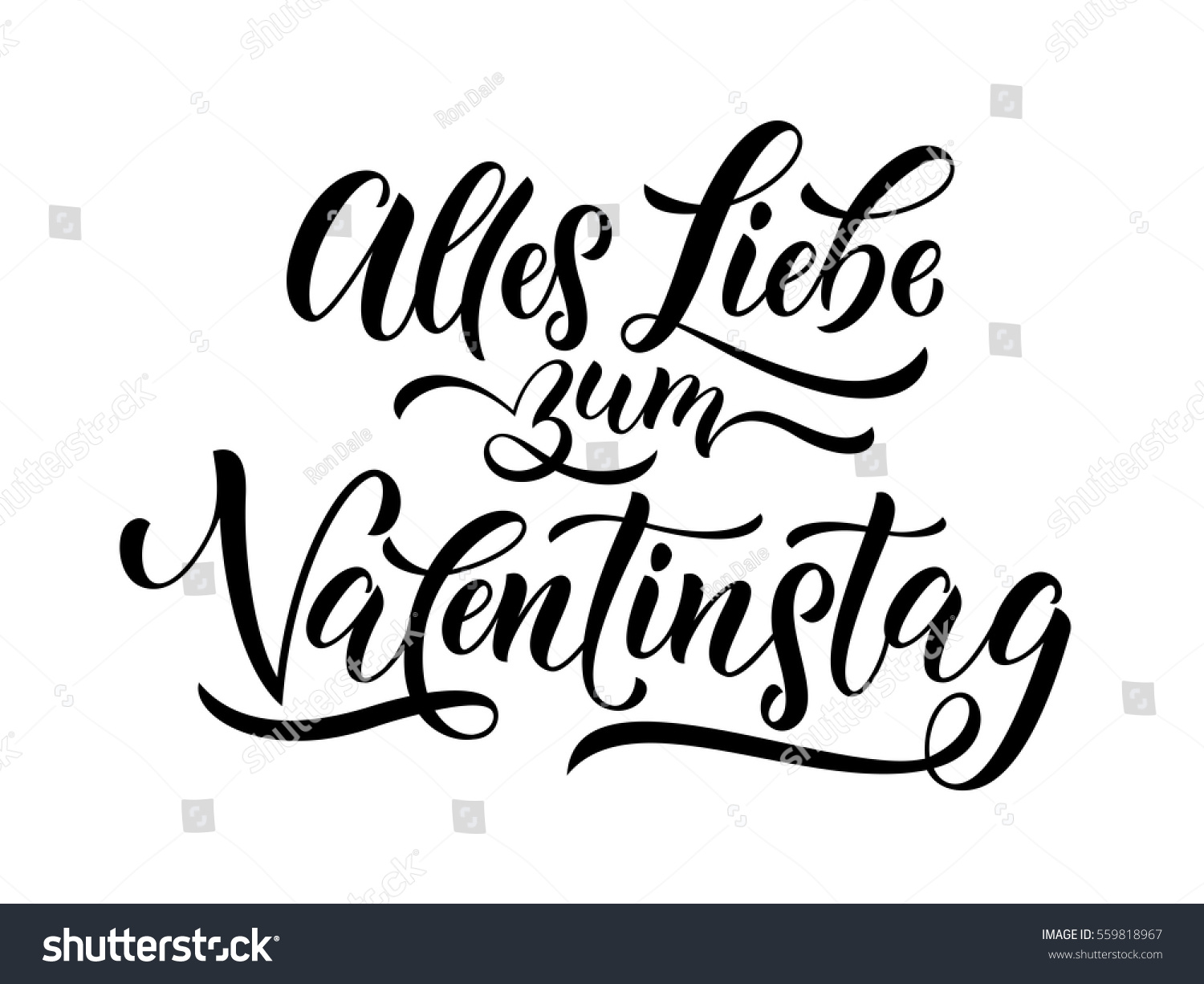 German Valentines Day Text Alles Liebe Zum Valentinstag Lettering For  Premium White Greeting Card.