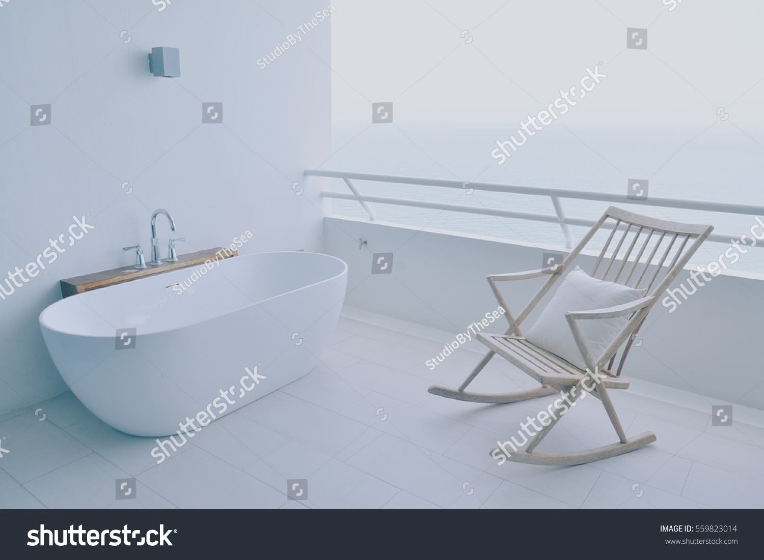 Bathtub Rocking Chair On White Terrace Stock Photo (Download Now ...