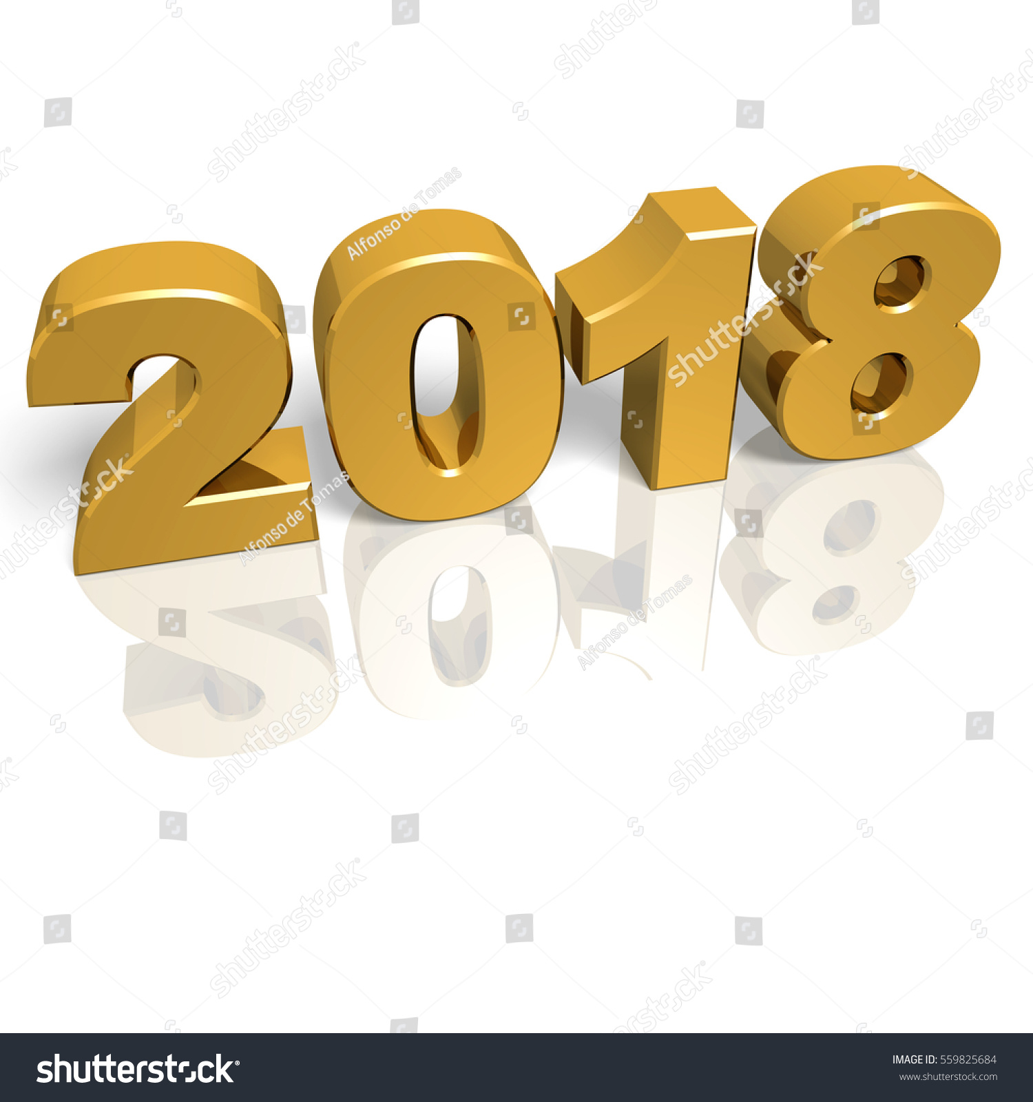 Golden Shiny New Year 2018 Reflections Stock Illustration 559825684 ...