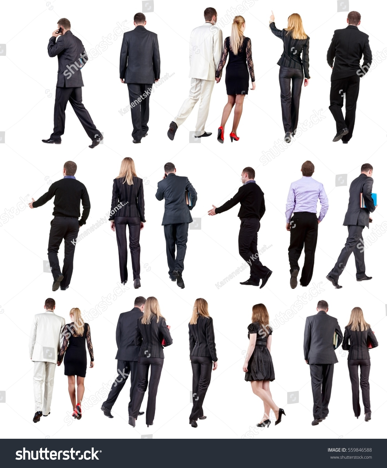 Collection Back View Walking Business People Stock Photo ...