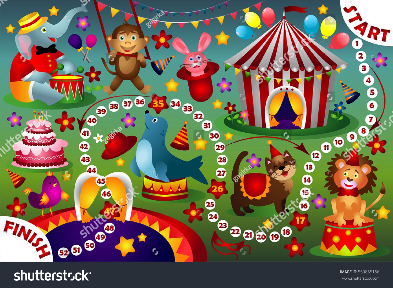 Uncategorized Circus Images For Kids board game kids cartoon circus stock vector 559855156 shutterstock for circus