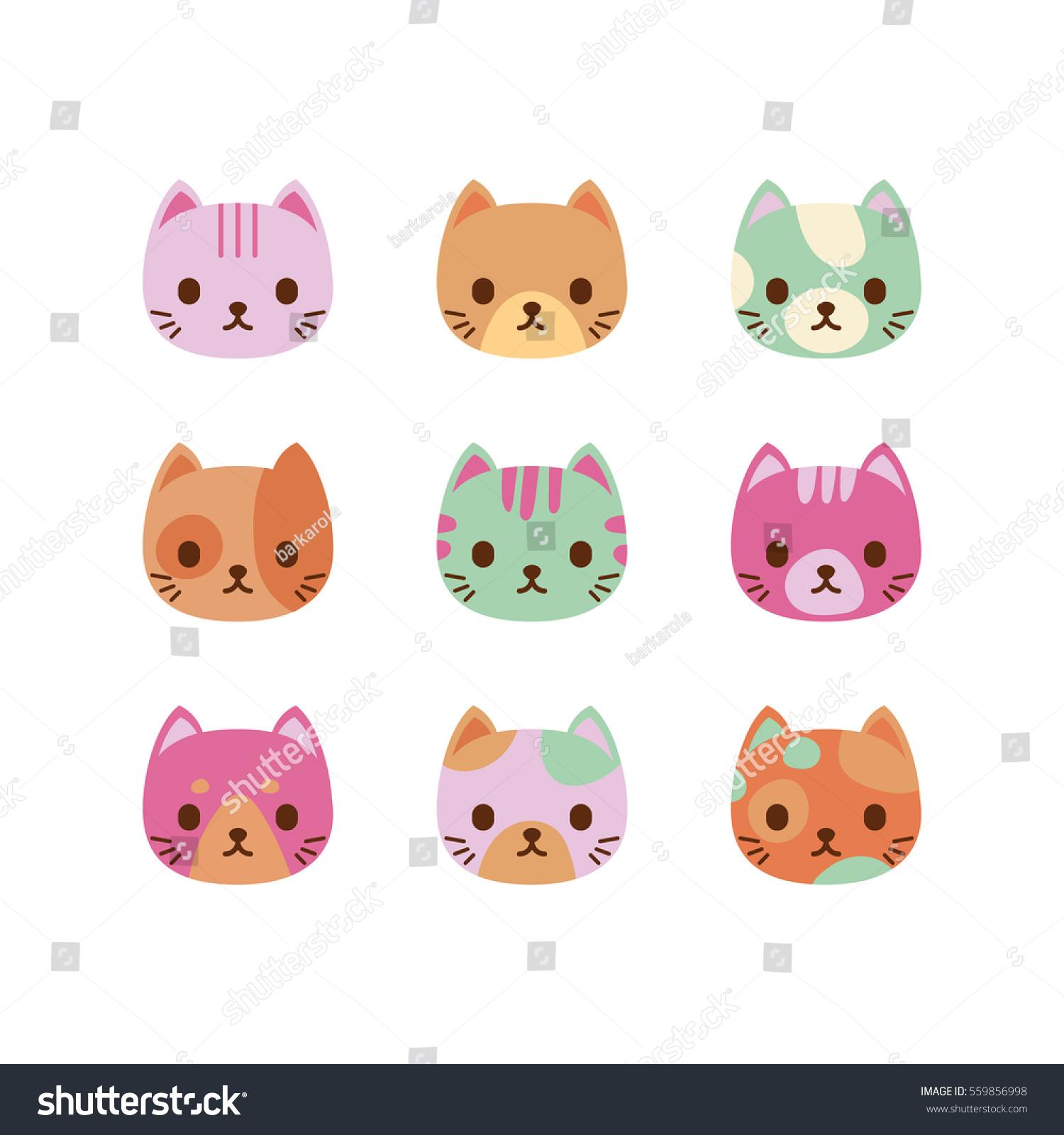 Set Vector Cats Faces Cute Cat Stock Vector Royalty Free 559856998