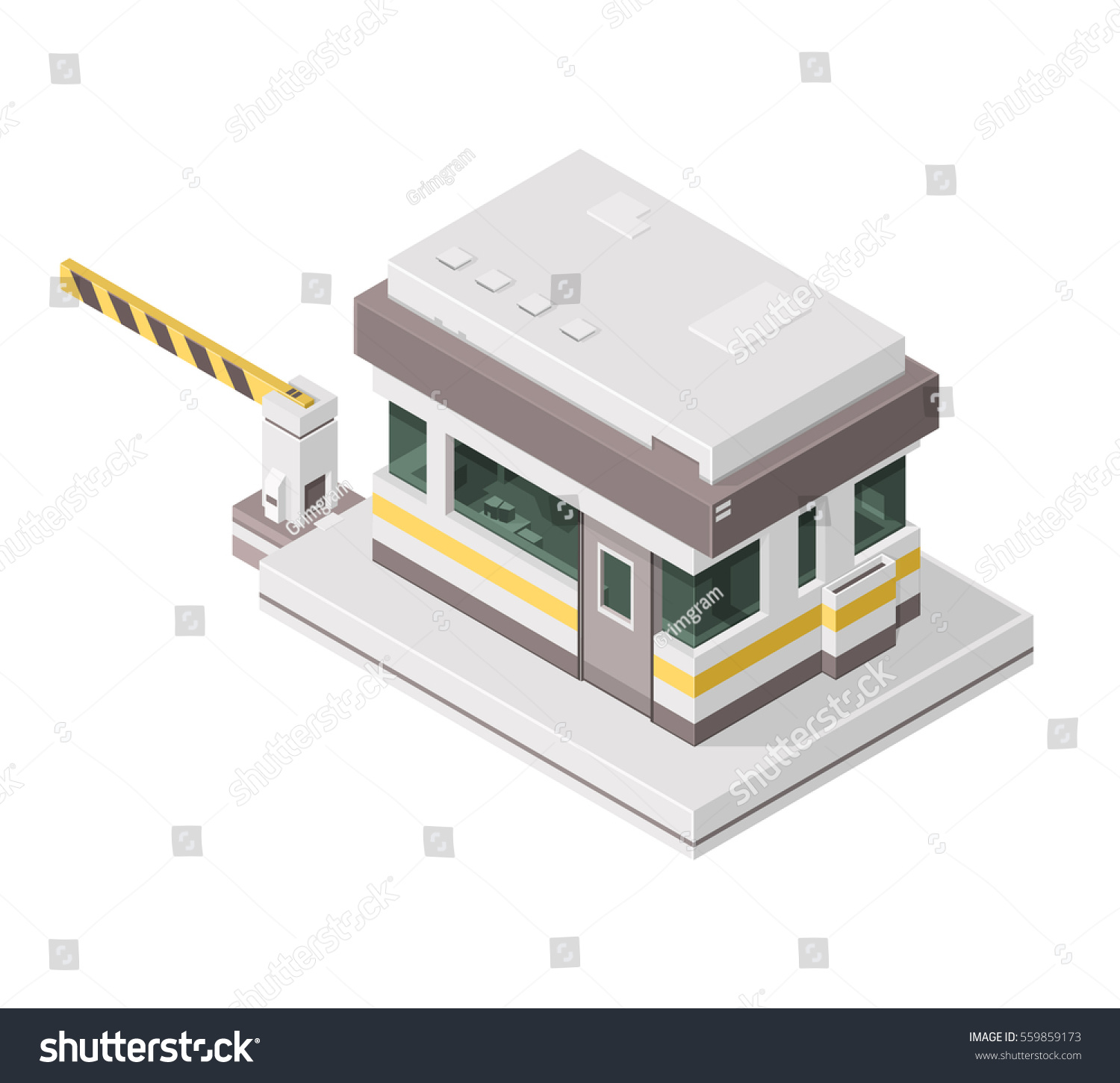 Security Hut Symbol: Vector Illustration Security Kiosk Guarding Check Stock