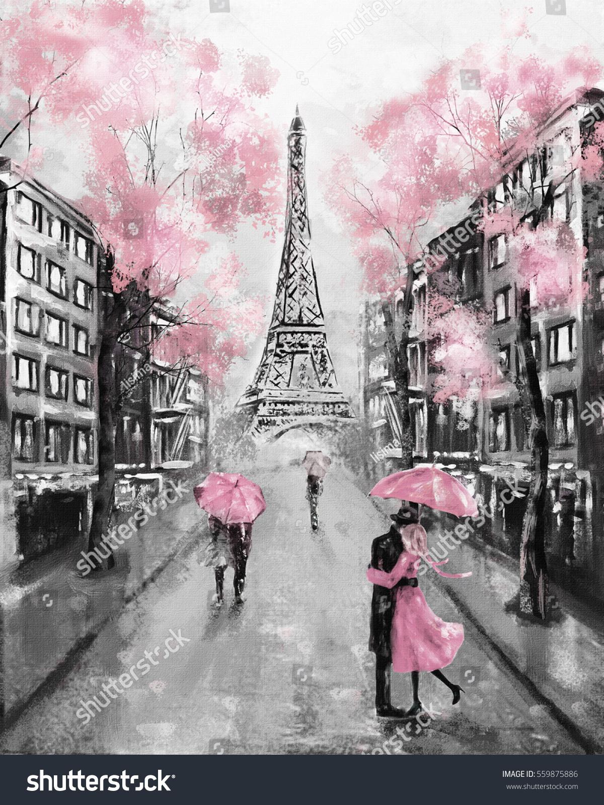 Oil Painting Paris European City Landscape 559875886
