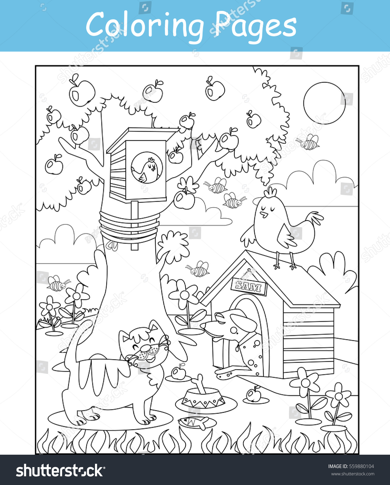 coloring pages cat dog birds stock vector 559880104 shutterstock