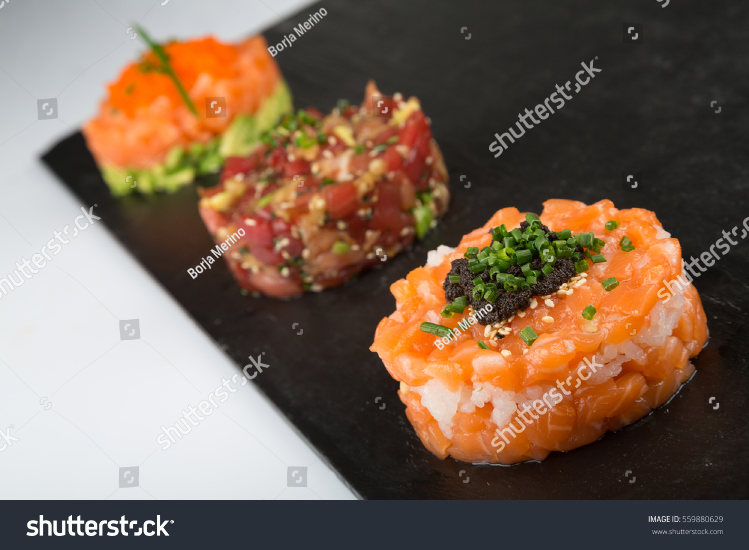 smoked salmon tartare tuna avocado stock photo 559880629