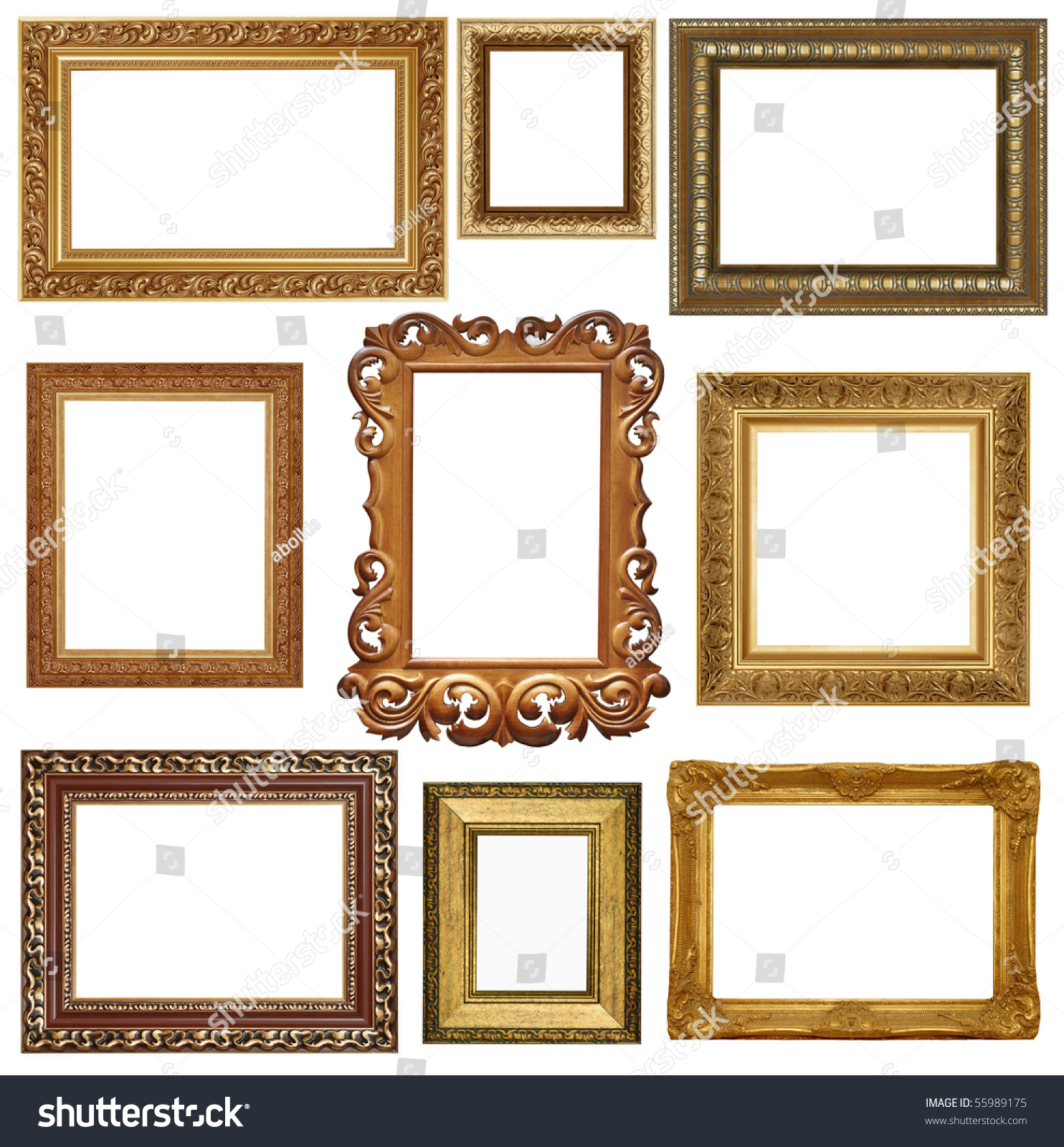 nine antique picture frames isolated on white high resolution stock photo 55989175 shutterstock. Black Bedroom Furniture Sets. Home Design Ideas