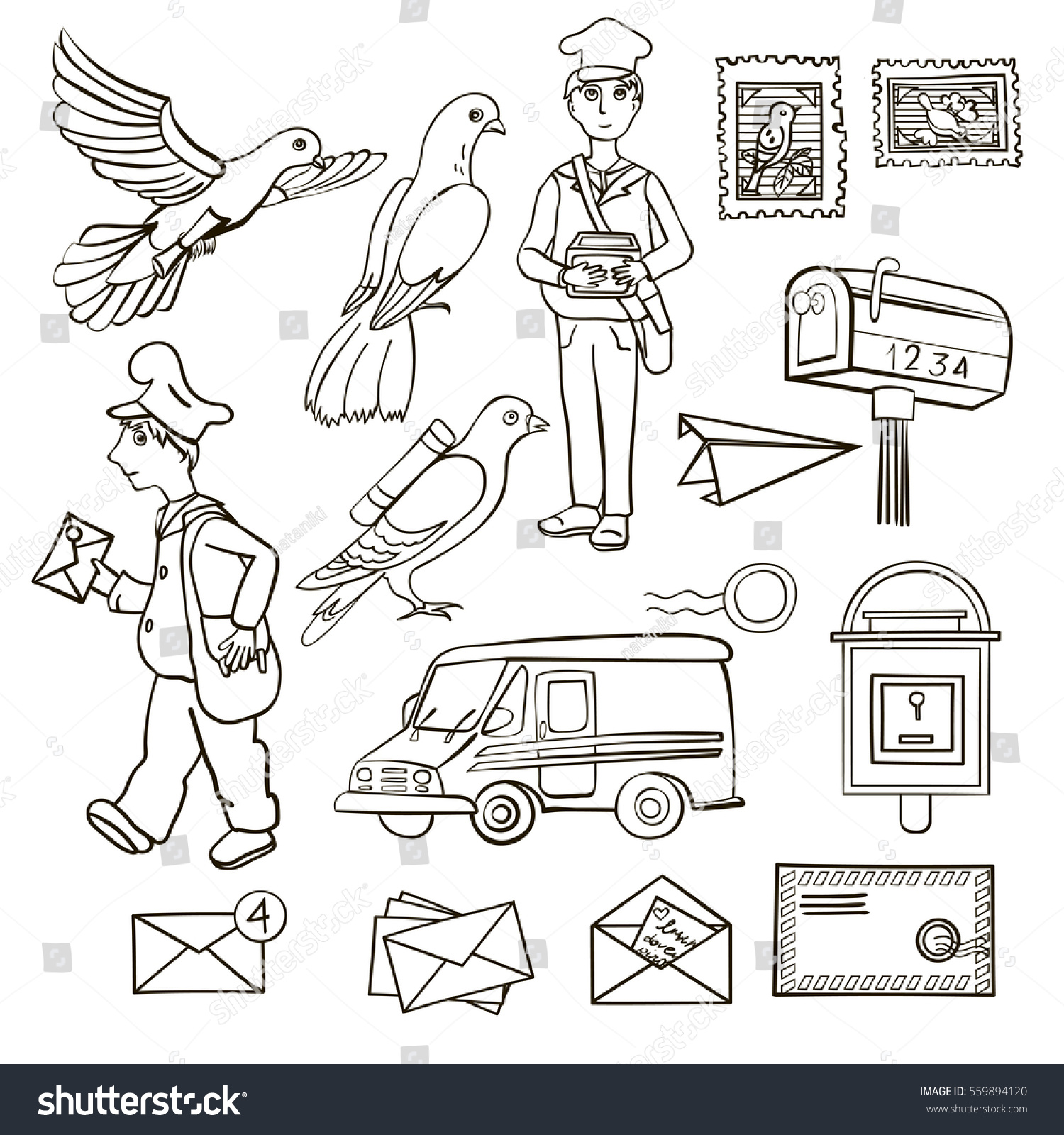 Line Set Postal Service Picture Shows Stock Vector