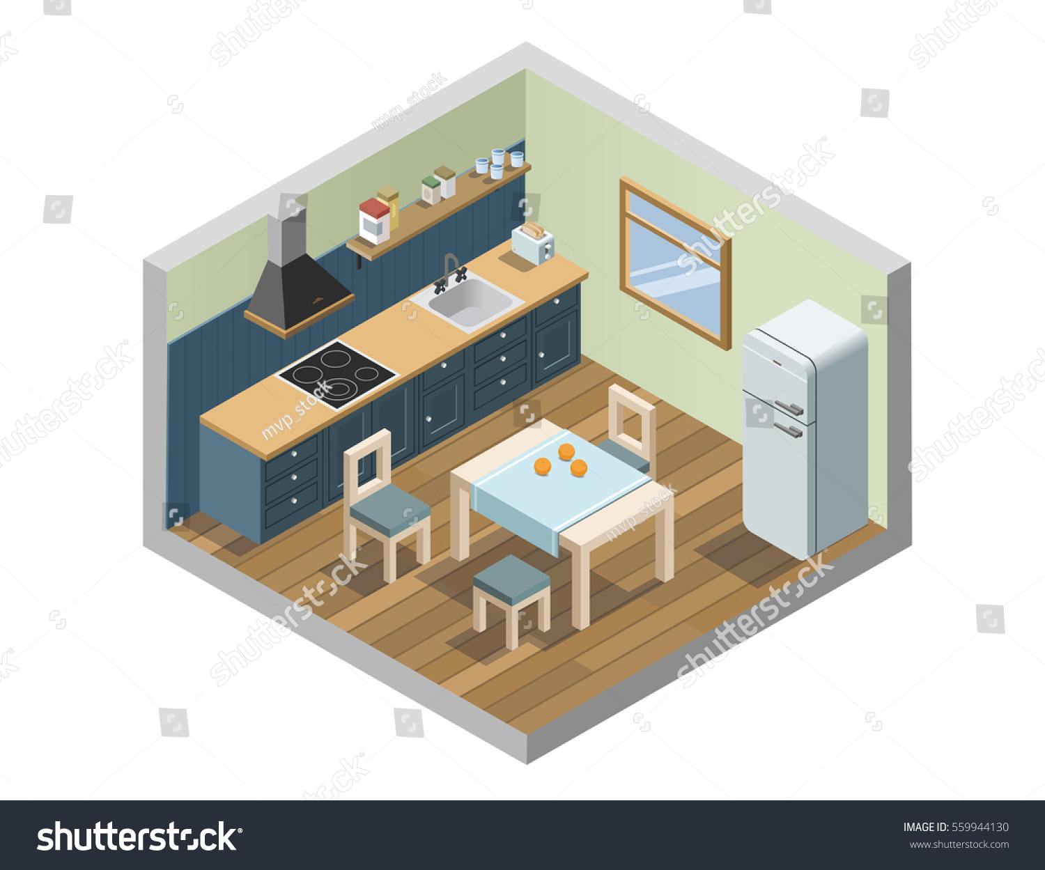 Vector Isometric Set Of Kitchen Furniture And Household Appliances Icons,  3d Flat Interior Design Of
