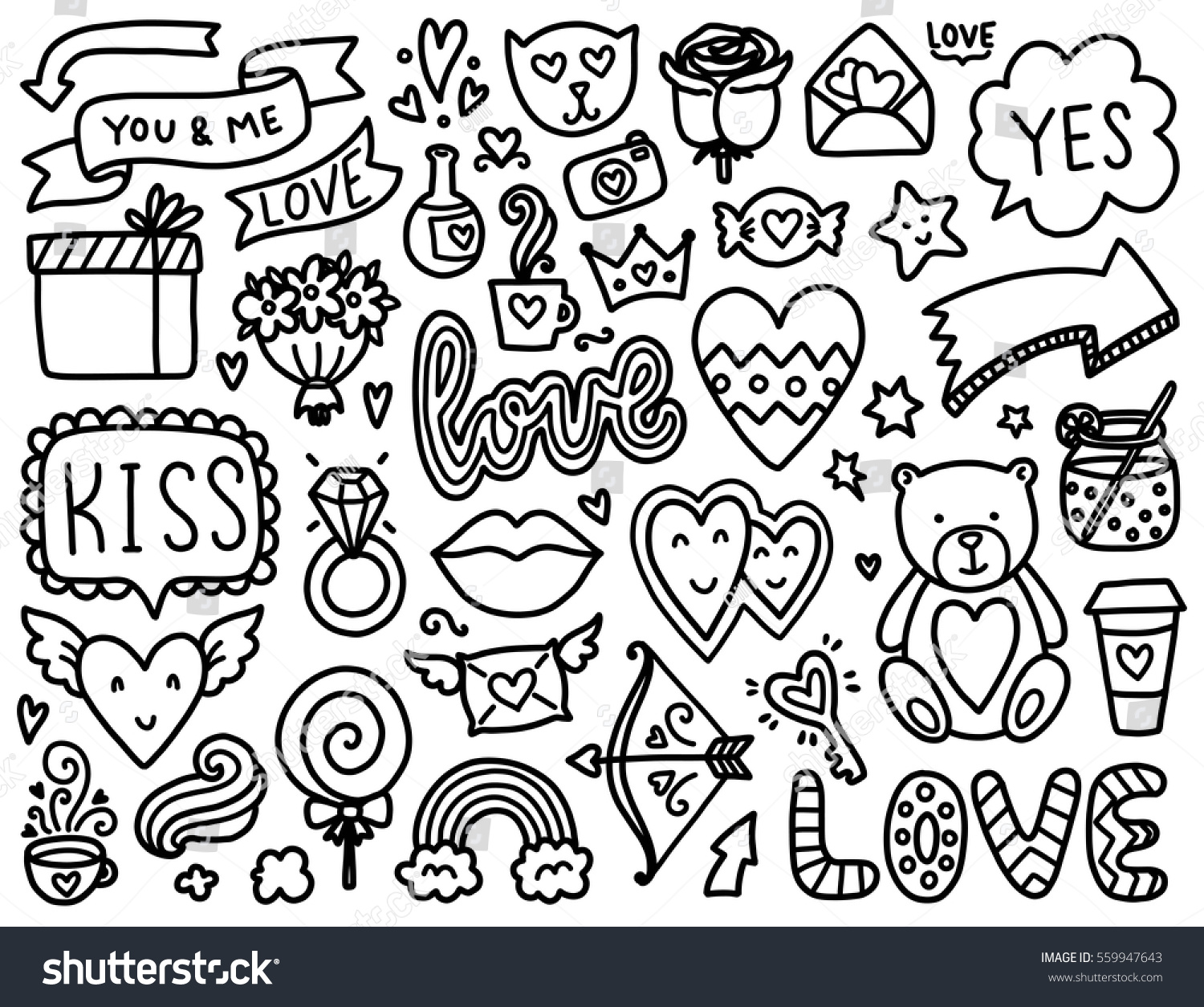 doodles cute elements black vector items stock vector 559947643