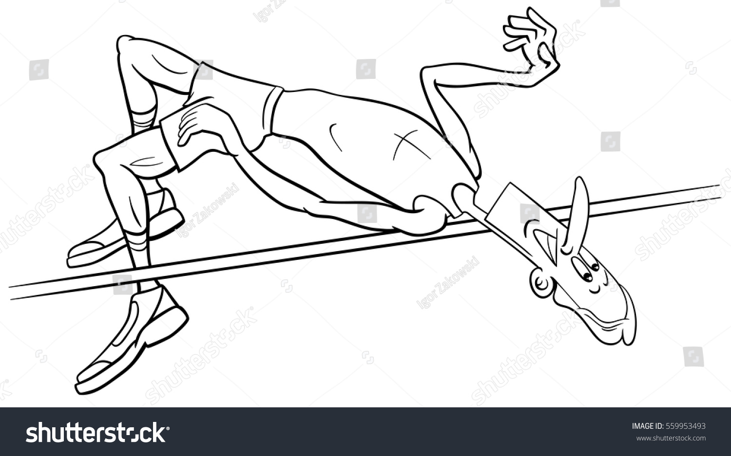 black and white cartoon illustrations of high jump sportsman or athlete training coloring page