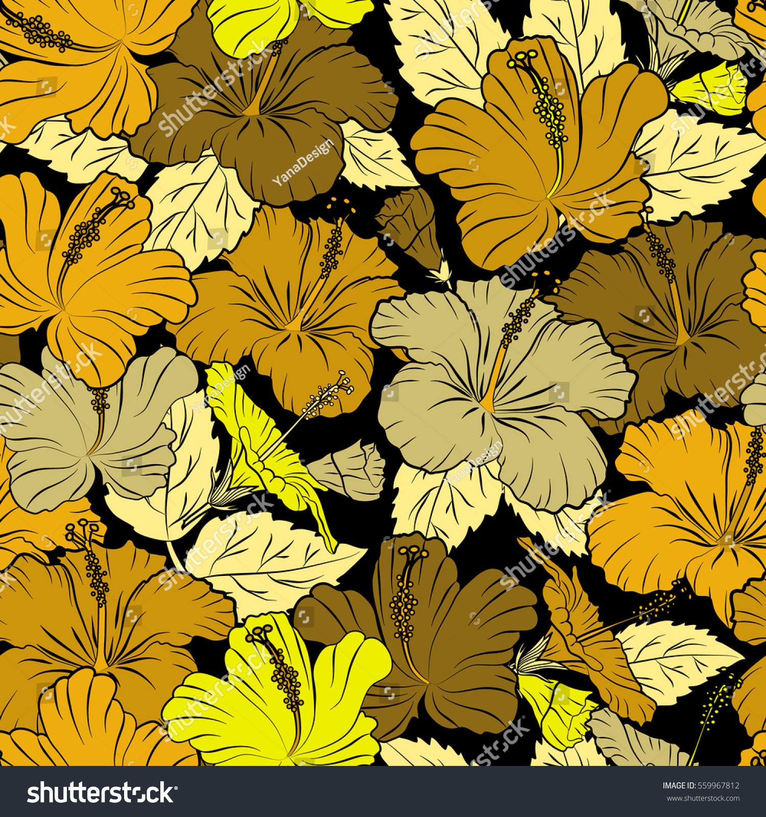 Seamless Tropical Flowers Yellow Brown Colors Stock Vector Royalty